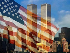 911 flag and buildings